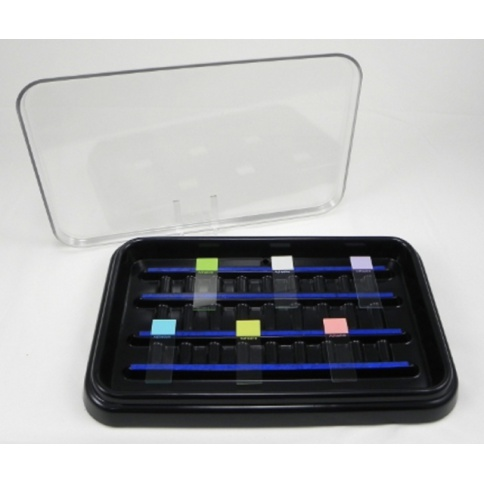 Slide Staining Tray 20 Capacity - Clear Lid