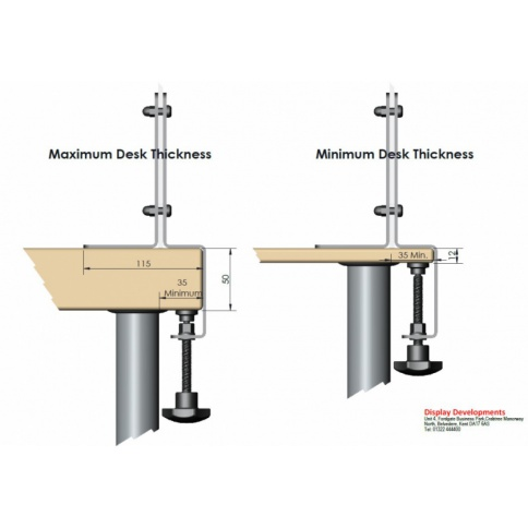 Edge Mounted Clamps Dimensions