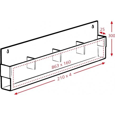 4 x A4 Brochure Holder Dimensions