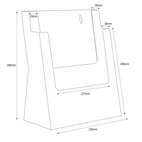 2 x A4 Leaflet Holder Dimensions
