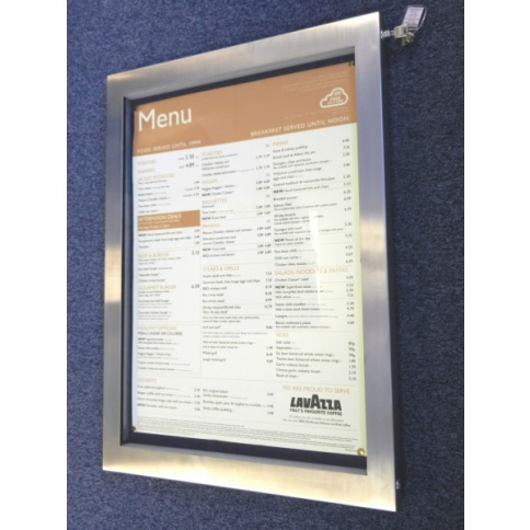 A2 LED Illuminated Menu Case - Brushed Stainless Steel Frame