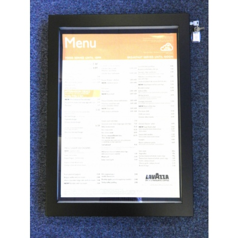A2 LED Illuminated Menu case - Matt Black Frame