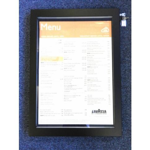A2 LED Illuminated Menu case - Matt Black Frame