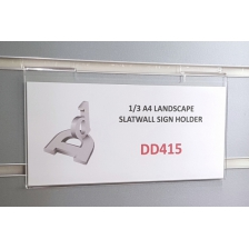 1/3 A4 (DL) Slatwall Sign Holder - Landscape